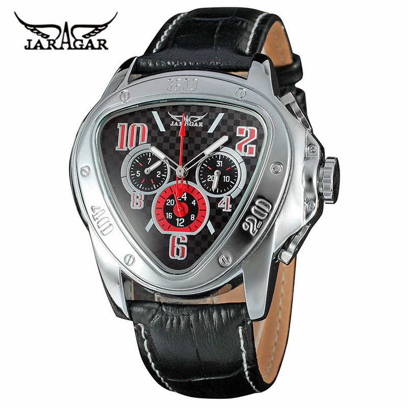 TOP Brand JARAGAR Auto Mechanical Wrist Watch Men Date Display Triangle Genuine Leather Band Analog Mens Clock 2017 New Fashion orkian relojes 2016 new clock men luxury masterpiece elegant date display genuine band wrist watch cool horloges mannen