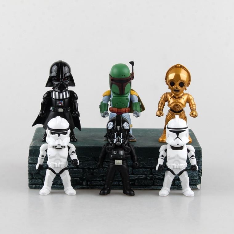 ФОТО Movie Figure 6PCS/SET Star Wars Light  Action Function Storm Trooper Boba Fett Darth Vader Clone Trooper C-3P0 PVC Action Figure