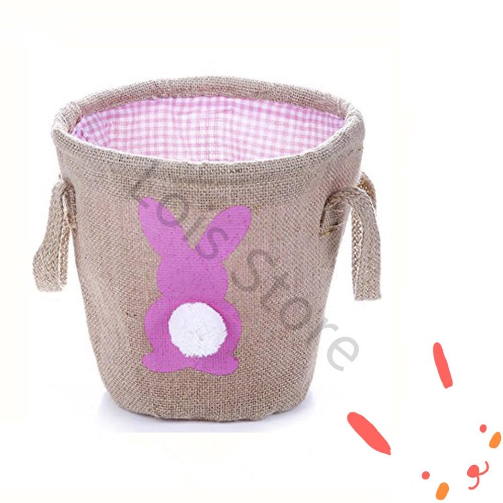 20pcs lot Monogram Easter Gift Bag Burlap Tote Bag Easter Jute Bag Easter Bunny Tail Bucket