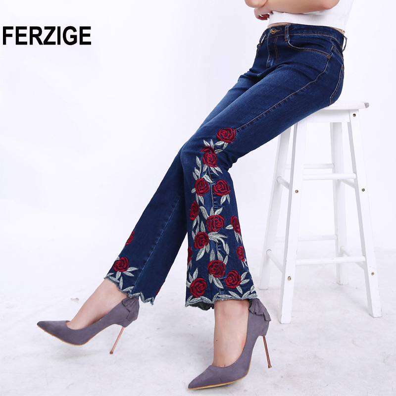 FERZIGE Famous Brand 2018   Jeans   for Women Floral Embroidered Elastic Boot Cut Flares Pants Casual Female Trousers Bell Bottoms