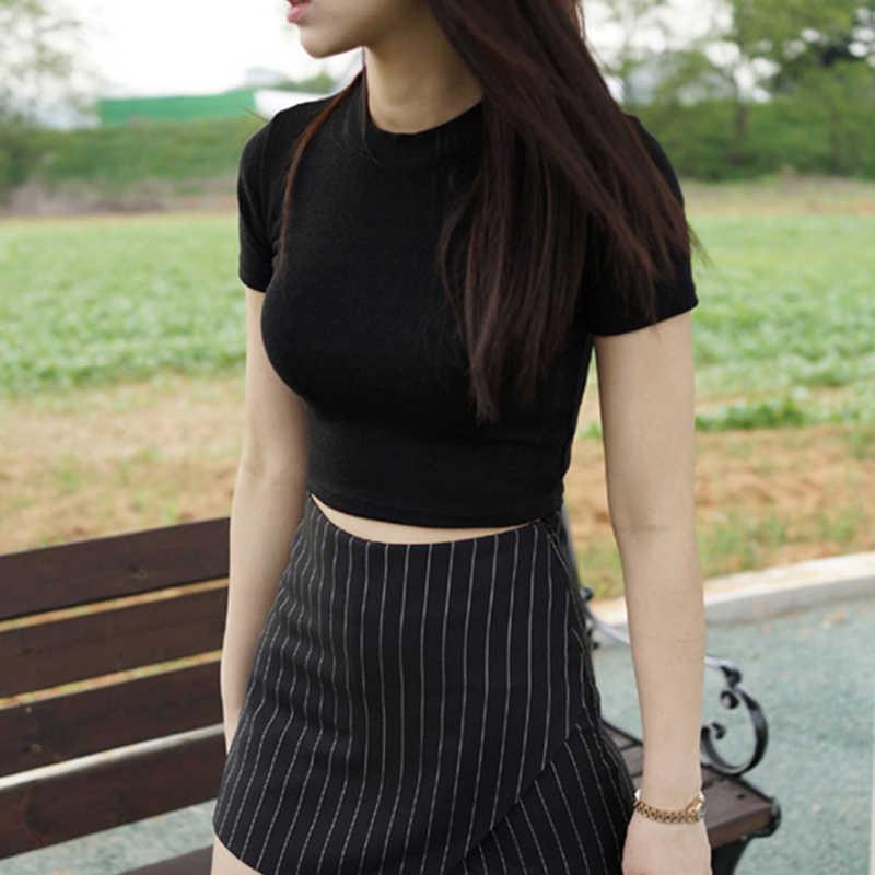 女性白黒綿 O ネックタイト半袖カジュアルファッション女性ゴシック原宿ストリート Tシャツトップス & Tシャツ