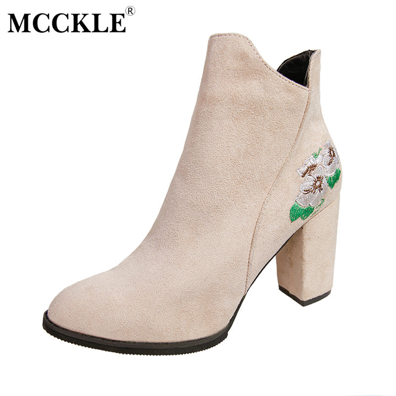 MCCKLE Female Fashion Flower Embroidery Zip Slip On Ankle Boots Ladies Solid Pointed Toe Style Thick Heel Black High Heels ms noki fashion buckle solid women ankle boots square heel pointed toe ladies booties retro comfortable slip on female botas hot