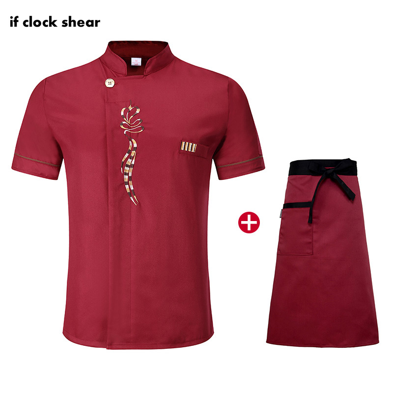 High Quality Short Sleeve Chef Uniform Red Restaurant Hotel Kitchen Workwear Unisex Breathable Jacket+Apron Summer Cooking Set