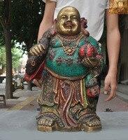 wedding decoration 17Chinese Buddhism bronze Gilt Inlay turquoise coral gem Maitreya Buddha statue