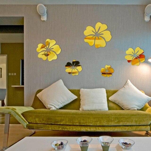 5 Pcs PVC Flower Mirror Flower Pattern Wall Sticker 3D Home ...