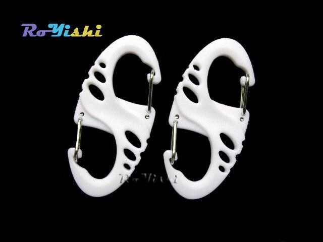 1000 pcs/lot blanc s-biner Clip pour Paracord Bracelet mousqueton 8 forme porte-clés extérieur sac pièces EDC outil et accessoires