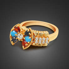Hot Fashion Multicolor zircon  Rings Gold Color Plated Wishful bowknot and Branches Finger For Women Jewelry Wedding