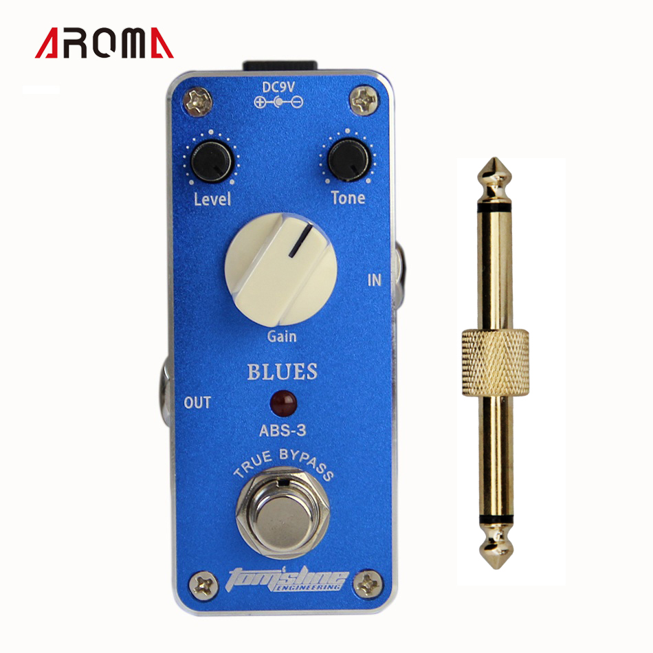 Aroma ABS-3 MINI Effect Pedal/ Blues AC/DC Adapter Jack True bypass +1 pc pedal connector mini effect pedal aroma adt 3 distortion ac dc adapter jack true bypass guitar pedal