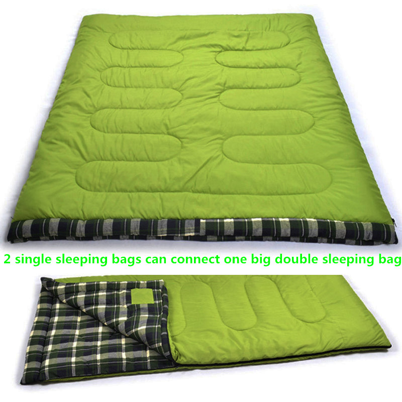 Sleeping bag Winter cotton outdoor camping double adult sleeping bag Envelope type for Camping Hiking 1-2 person Flannel warm outdoor adult autumn and winter sleeping bag camping sleeping bag lengthened warm cotton indoor envelope sleeping bag 1 3kg