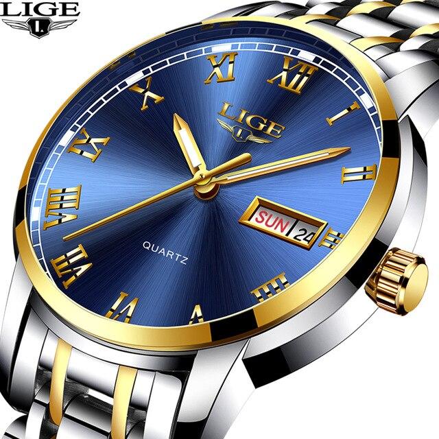 LIGE Marque De Luxe Hommes acier inoxydable Or de montre pour homme Quartz Horloge Homme Sport Étanche montres-bracelets relogio masculino