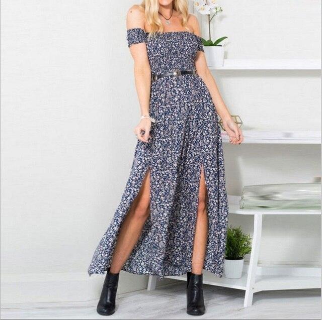 off the shoulder light print long dress with knee-split 4