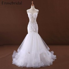 erosebridal Mermaid Wedding Dress with Court Train