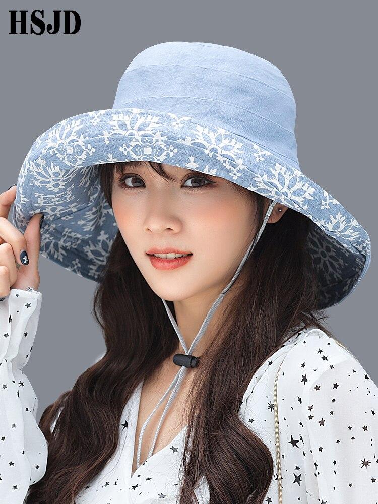 Hat Summer Womens Double-sided Snowflake Sun Hats Female Linen Cotton Large Wide Brim Anti-UV Beach Hat Lady's Floppy Bucket Hat