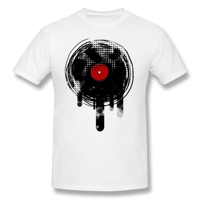 Fusión de Diseño de Manga corta Dj del Disco de Vinilo de Música Retro Vintage D hombres camiseta Al Por Mayor 100% Algodón camiseta para el Novio