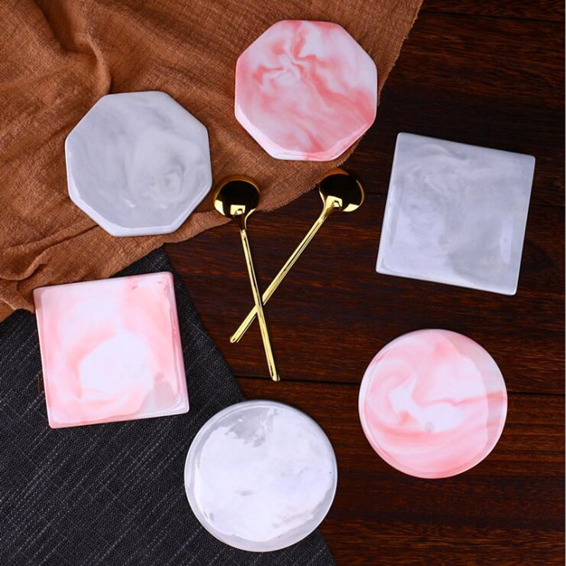 CFen A 39 s Marble Pattern Ceramic Coaster Cup Pad Mat Heat insulation Table Bowl Mat Coffee Tea Cup Drink Coasters Round 1pc in Mats amp Pads from Home amp Garden