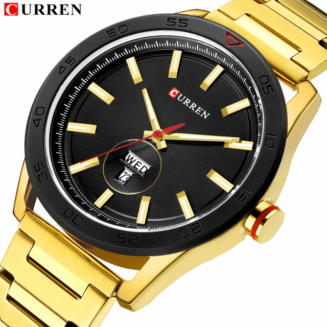 CURREN 2019 Watches for Men Casual Style Clock Date Quartz Wrist Watch with Stainless Steel Classic Design Round Dial 44 mm