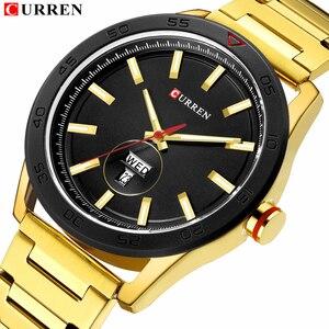 Image 1 - CURREN zegarki dla mężczyzn mężczyzna luksusowy pasek ze stali nierdzewnej zegarek na co dzień styl kwarcowy na rękę zegarek z kalendarzem czarny zegar mężczyzna prezent