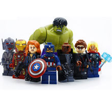 8pcs/lot New Legoings Super Heroes The Avengers Hulk Thor Captain Iron-man Black Widow Building Blocks Kit Toys for Kids Gifts(China)