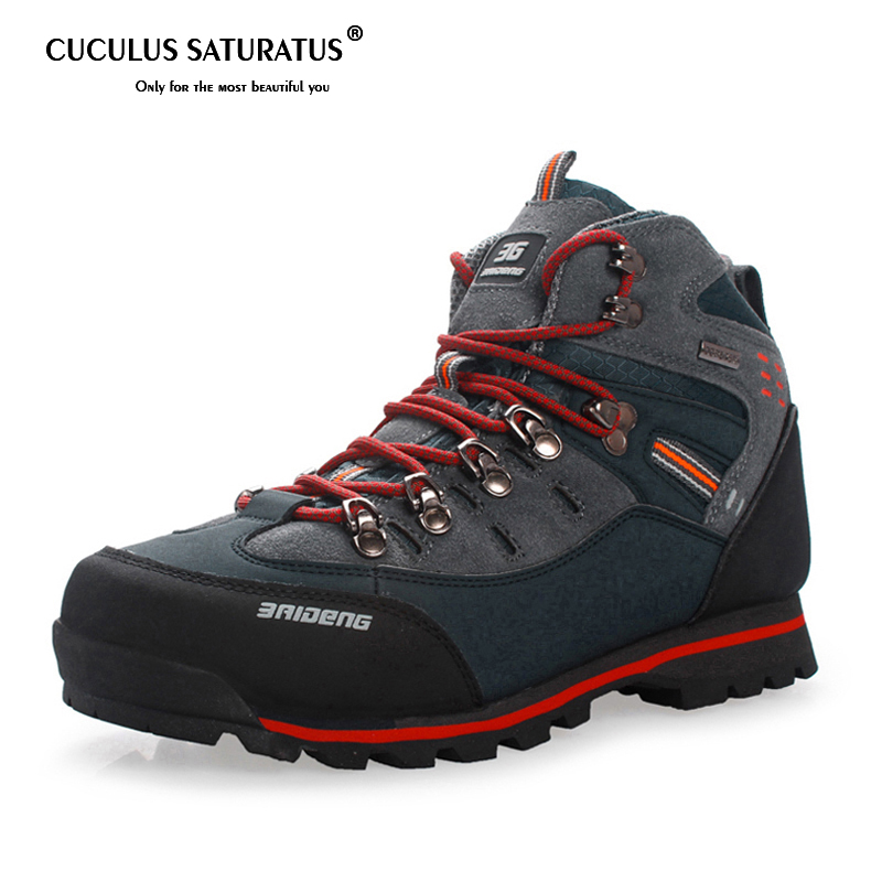 Breathable man Hiking boots Mens Outdoor waterproof Hiking boots Anti skid Leather Climbing Boots hiking Shoes