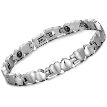 Woman font b Health b font Care Bracelet Heart Stainless Steel Energy Balance Magnetic Stone Fashion