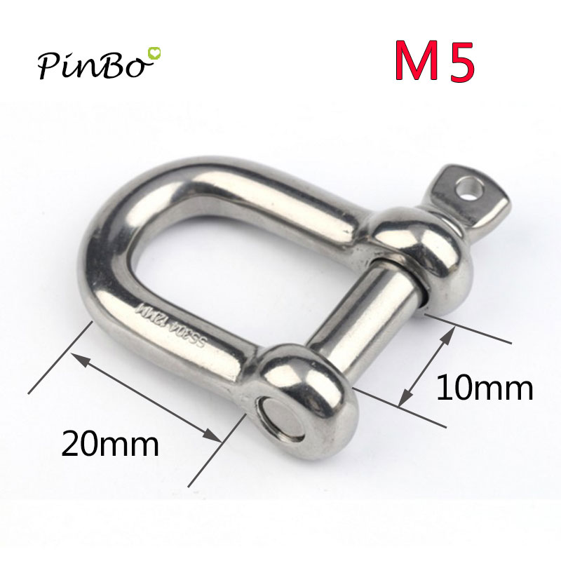 """Stainless Steel 316 Long D Shackle 3//16/"""" 5mm New Unused"""