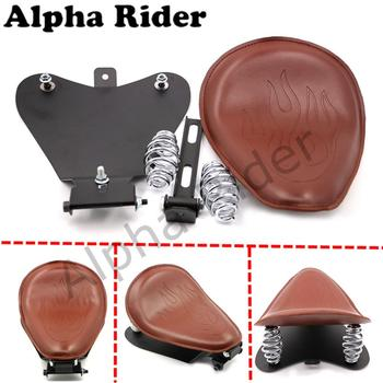 For 04-06 10-15 Harley Sportster 48 XL 883 1200 Flame Leather Solo Seat Cover Mount Kit Baseplate Sitting Pad Base Plate Retro