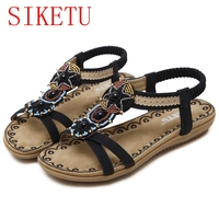 New Bohemia Style Beading Pearls Women Sandals Beach Shoes Flat Comfortable Summer Shoes 185 6