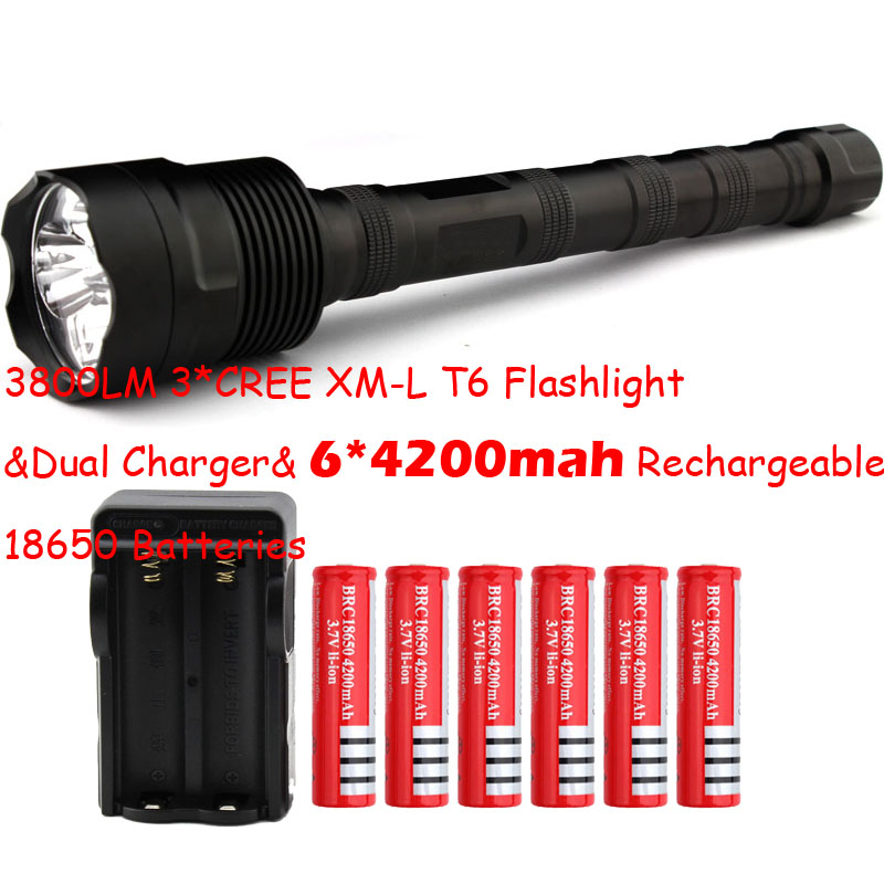 Big Discount! 3 * CREE XM-L T6 3T6 Flashlight 5 Mode 3800 Lumen XML T6 LED Flashlight + 6*18650 battery + Charger Free Shipping high lumen led flashlight 4 2v cree xml t6 2 18650 battery 5 modes focalize flash lamp 2 18650 batteries battery charger