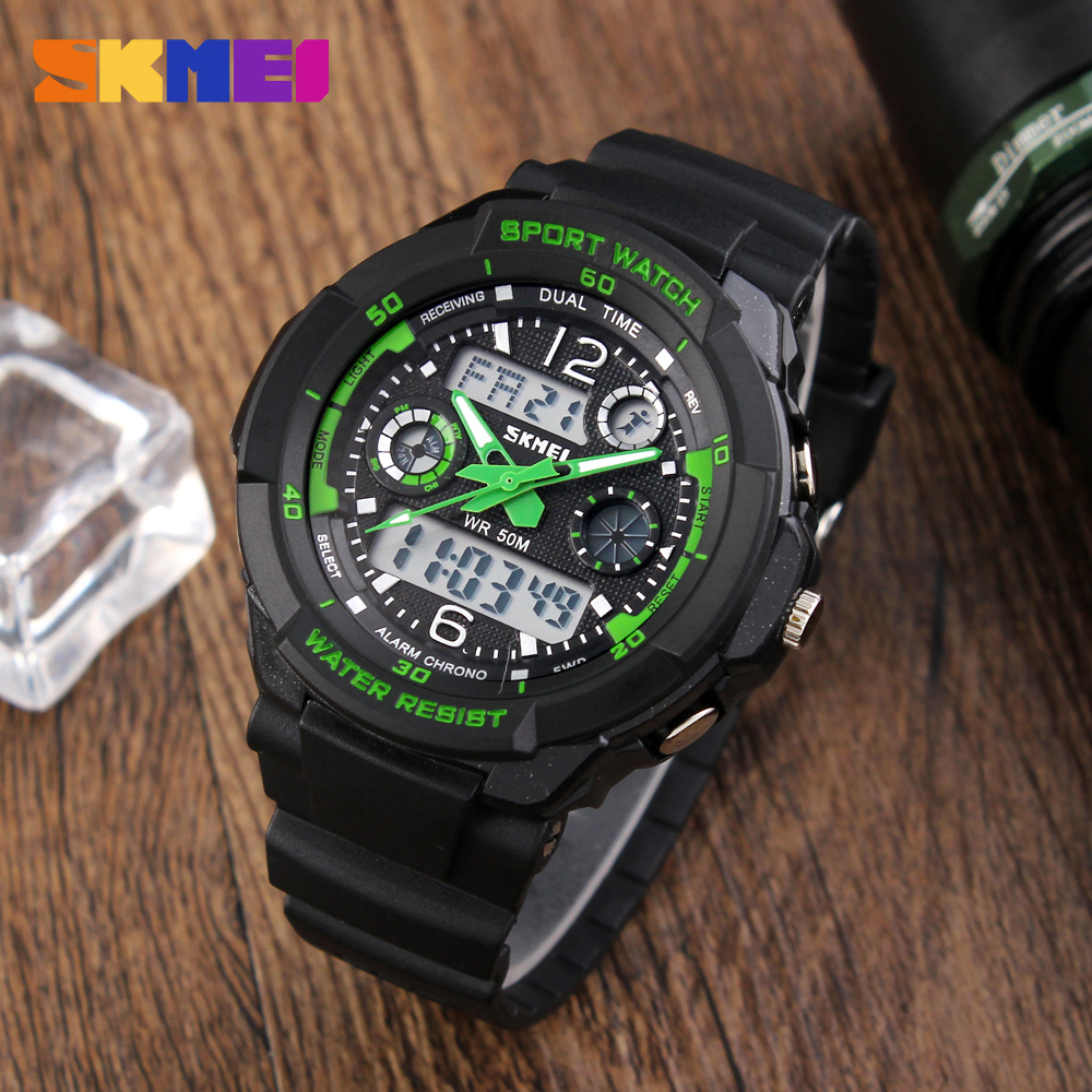 SKMEI Brand 50m Waterproof Children's Watches LED Multifunction Dual Time Quartz Digital Kids Wrist Watches Children Dress Watch