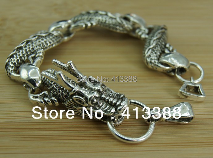 buy silver viking dragon charm men 39 s bracelet fashion jewelry retro male luck. Black Bedroom Furniture Sets. Home Design Ideas