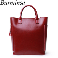 Burminsa Genuine Leather Bags Bucket Shopping Tote Bags Designer Handbags Ladies Vintage Shoulder Crossbody Bags For Women 2019
