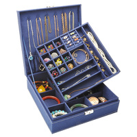 Double Layer Jewelry Box Square Display Storage Case with Lock