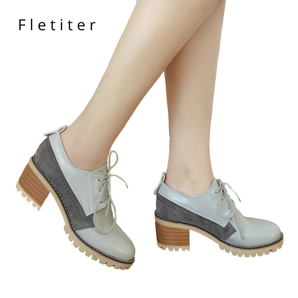 High Heels Oxford Shoes For Women Autumn Thick Heel Women Pumps Shoes Brogues Oxford Woman Casual Shoes British Style Lace Up beffery 2018 british style patent leather flat shoes fashion thick bottom platform shoes for women lace up casual shoes a18a309