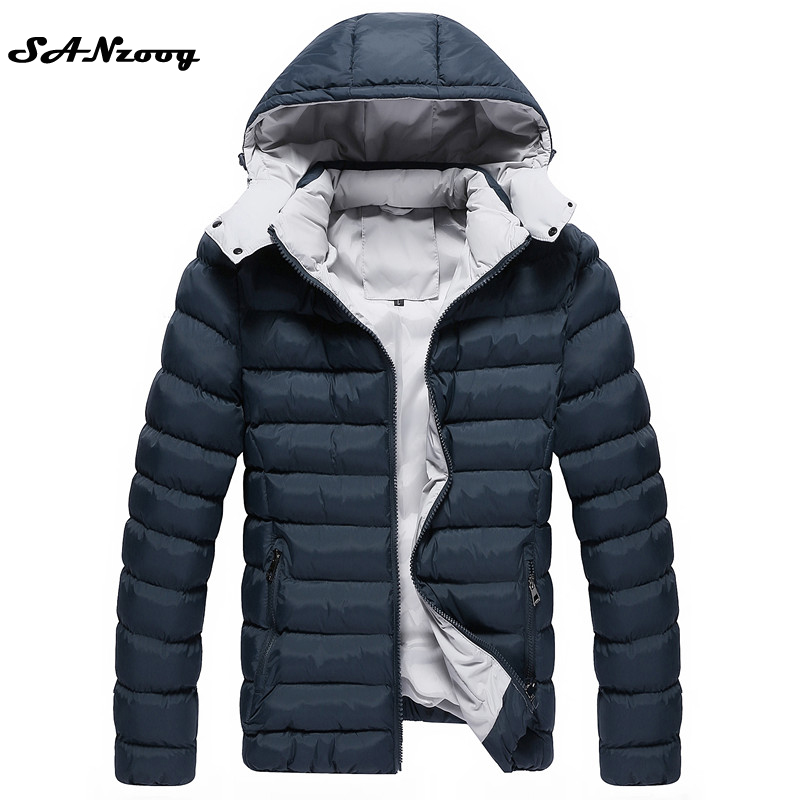 0ad77ae5aa7 New Winter Casual Cotton Jacket Men Hoodie 2017 Thick Warm Slim Fit Brand Men s  Jackets Hooded Parka Size 3XL