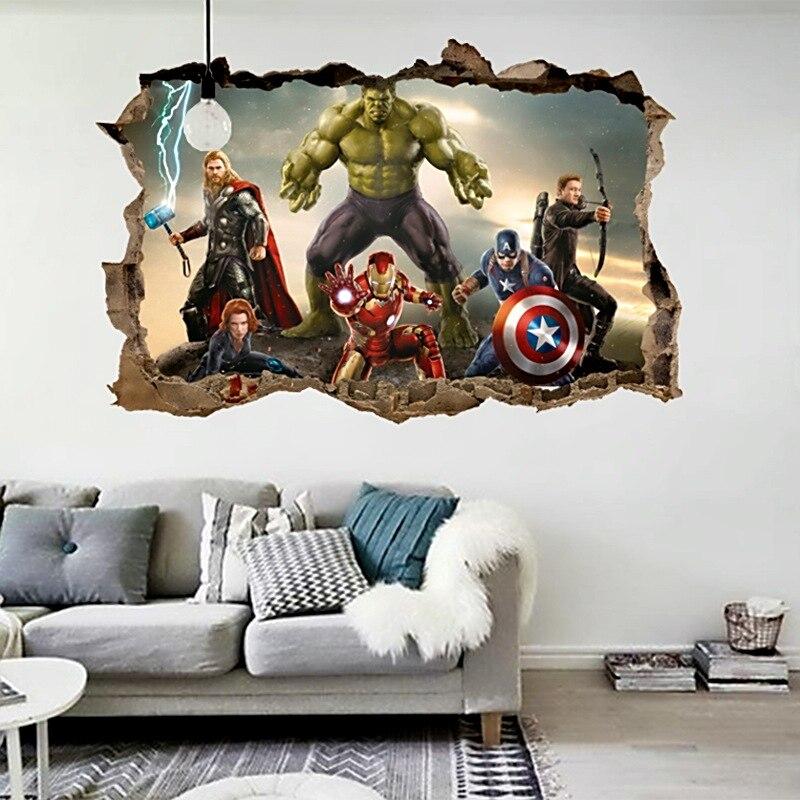 Dessin animé film Avengers stickers muraux pour enfants chambres décor à la maison 3d effet décoratif stickers muraux bricolage mural art pvc affiches art
