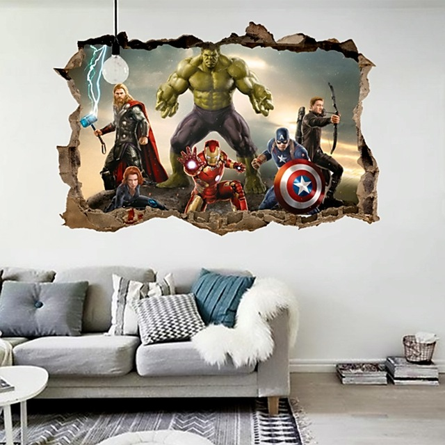 Cartoon Movie Avengers Wall Stickers For Kids Rooms Home Decor 3d Effect  Decorative Wall Decals Diy