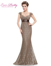 Women's Elegant Peach Collar Long Evening party Dresses Ever Pretty EP08798 Empire Mermaid Lace V-neck Evening Dresses