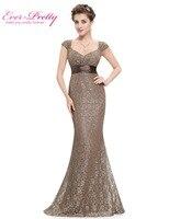Women's Elegant Peach Collar Long Evening party Dresses Ever Pretty EP08798 Empire Mermaid Lace V neck Gold Evening Dresses