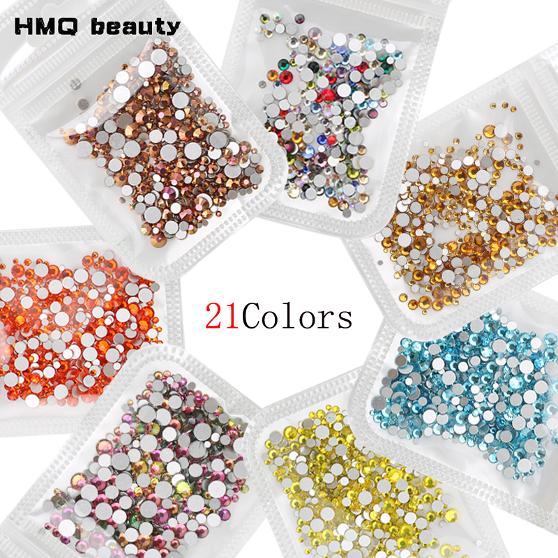 Multi-size 500pcs Glass Nail Rhinestones For Nails Art Decorations Crystals Mix Size Rhinestone
