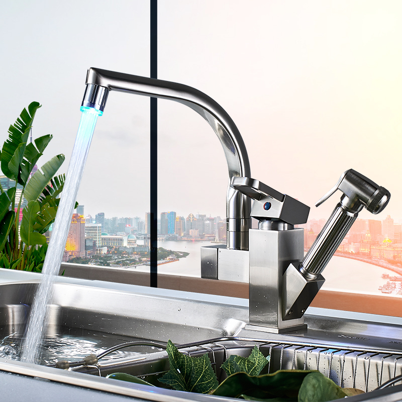 Uythner Kitchen Faucet Mixer Tap Single Handle Two Swivel Spouts Kitchen Hot Cold Water Tap Pull