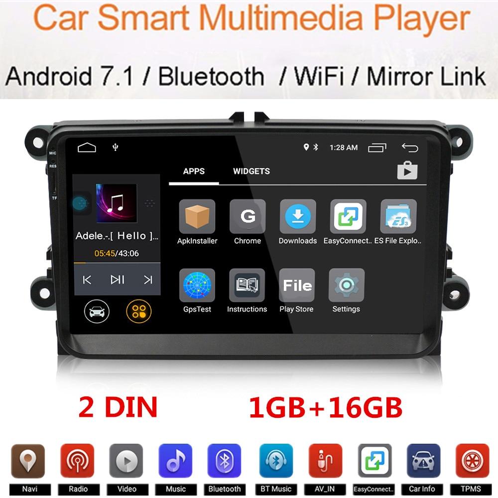 Lecteur de voiture Android Bluetooth universel 2 DIN écran tactile 9 pouces haute définition 1024x600 pour VW