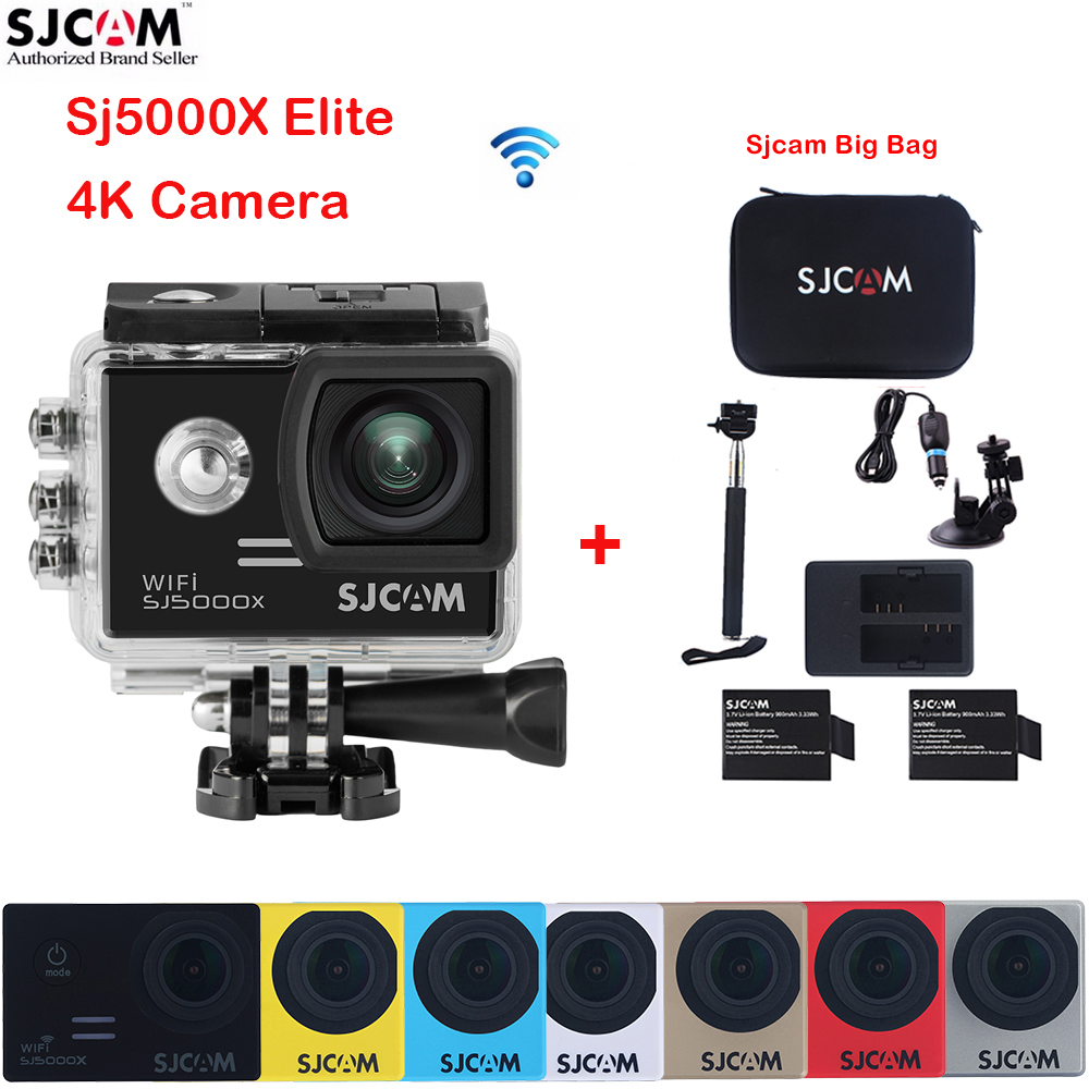 SJCAM SJ5000X Elite WiFi 4k 30M Waterproof Sports Action Camera Car Mini DVR+2 Battery+Dual Charger+Monopod+Car kit+Sjcam Bag original sjcam m20 wifi 4k 24fps 30m waterproof sports action camera sj cam dvr 2 extra battery dual charger remote monopod