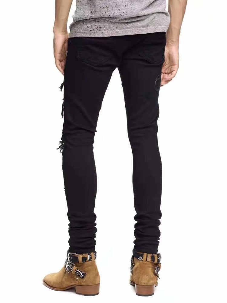 Американский уличный стиль модные мужские джинсы Slim Fit змея вышивка панк рваные джинсы для мужчин брендовая Дизайнерская обувь уличная хип хоп