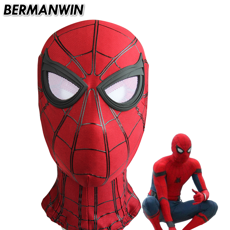 BERMANWIN High Quality Black 3D Cobwebs Homecoming Spiderman Mask Tom Holland Spider-Man Mask With Lenses