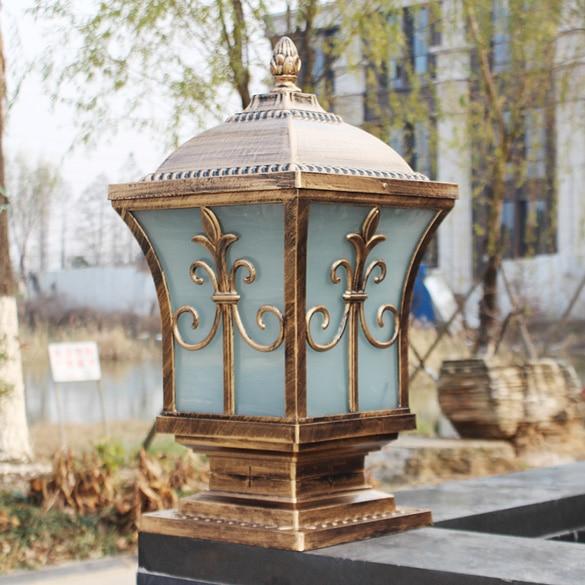 Ip65 Bronze Antique Brass Landscape Vintage Classical Outdoor Waterproof Fencing Bollard Pillar Light Lamp Free Led