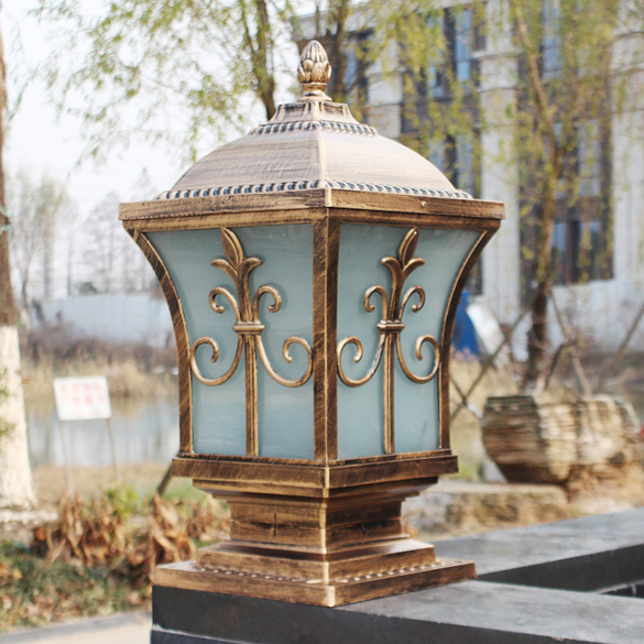 Ip65 bronze antique brass landscape vintage classical for Landscape pillar lighting