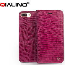 QIALINO לאייפון 7 נרתיק עור אמיתי לאייפון 7 יוקרה בתוספת עור אמיתי נשים תנין כיסוי עבור 4.7/5.5 inches