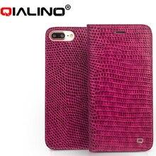 QIALINO iphone 7 Hakiki Deri iphone için kılıf 7 Artı Gerçek Deri Lüks Kadın Timsah Kapak 4.7/5.5 inç