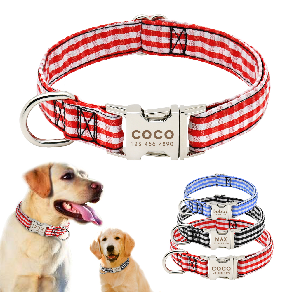 Nylon Dog Collar Personalized Engraved Pet Puppy ID Tag Collar Anti-lost Nameplate Collars Adjustable For Small Medium Dog S M L