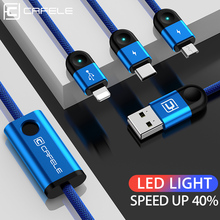 Cafele 3in1 USB Cable for iPhone + Type C Micro Charging 3 Phones at Same Time Xiaomi Huawei
